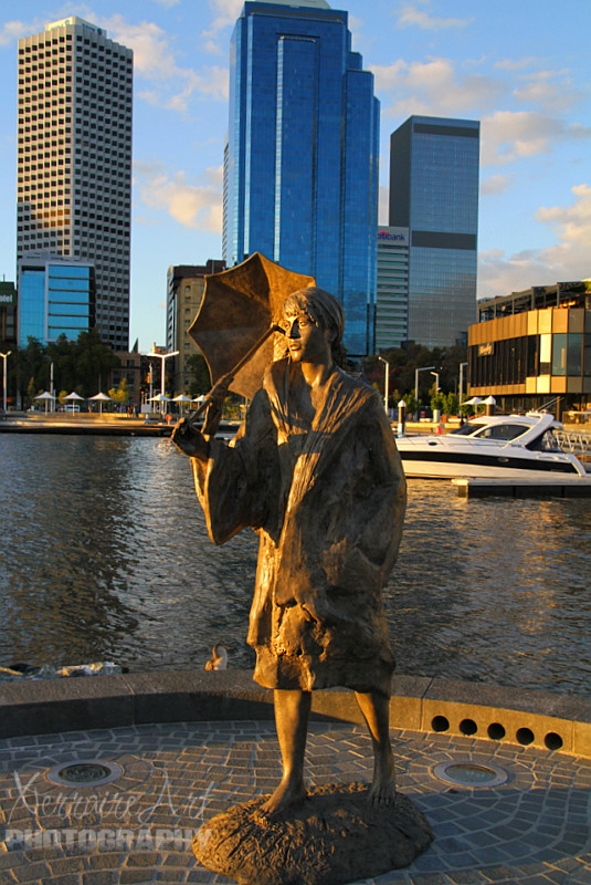 At nearly 90 years old, the conservationist attempted to block bulldozers from entering the river by standing in their path barefoot while holding an umbrella. The symbolic moment, captured by photographers, has since become an iconic symbol for protesters and is bizarrely the photo artist Jon Tarry based his Elizabeth Quay bronze statue creation on.