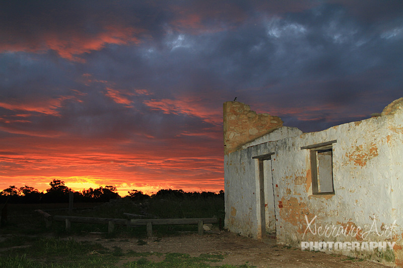 ruin and sunset