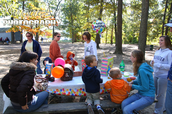 Later, it was time for cake so we found a spot in the woods with tables.