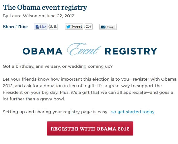 Obama Ask Those Getting Married to Forgo Gifts and Give to His Campaign Instead