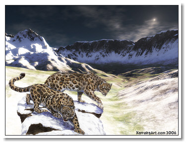 Snow Leopards in a Terragen