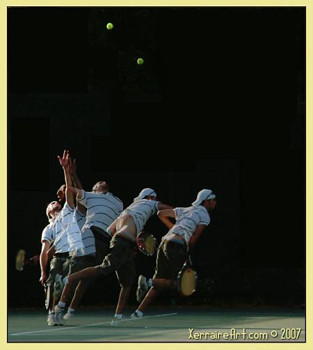 Miquel serves at tennis