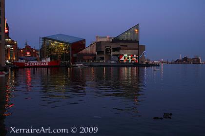 Baltimore skyline at night